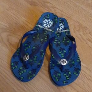 Tory Burch Thong  Sandals - Blue 9/Silver logo.